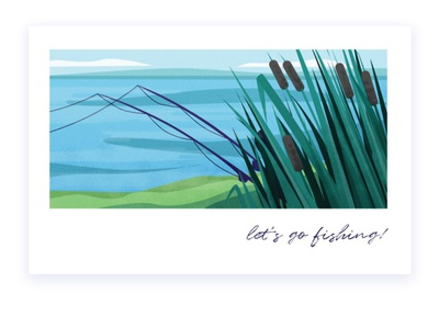 let s go! 3 fishing nature illustration nature lake water landscape vector illustration