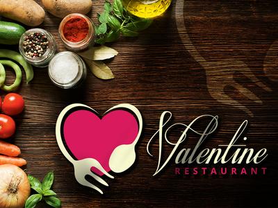 Valentine Restaurant Logo Design creative graphic logos spoon heart brands branding design logo food restaurant valentine