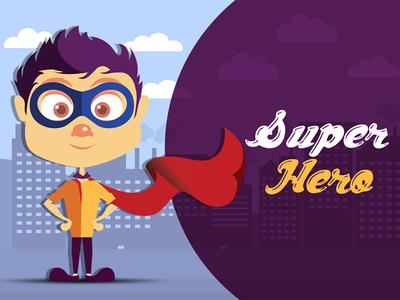 Super Hero Illustration Design creative human people design buildings hero super character illustrate illustration