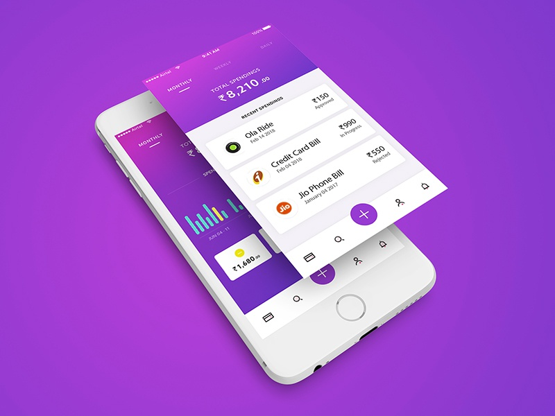 Money Management Mobile UI/UX Design uxdesign uidesign money interface ux ui design app mobile iphone tracking expense