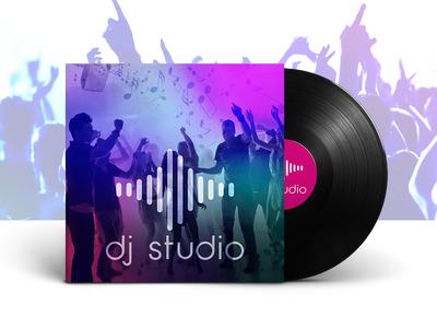 Dj Studio Record Mockup Design graphic purple disc waves dance design mockup studio cover record music dj