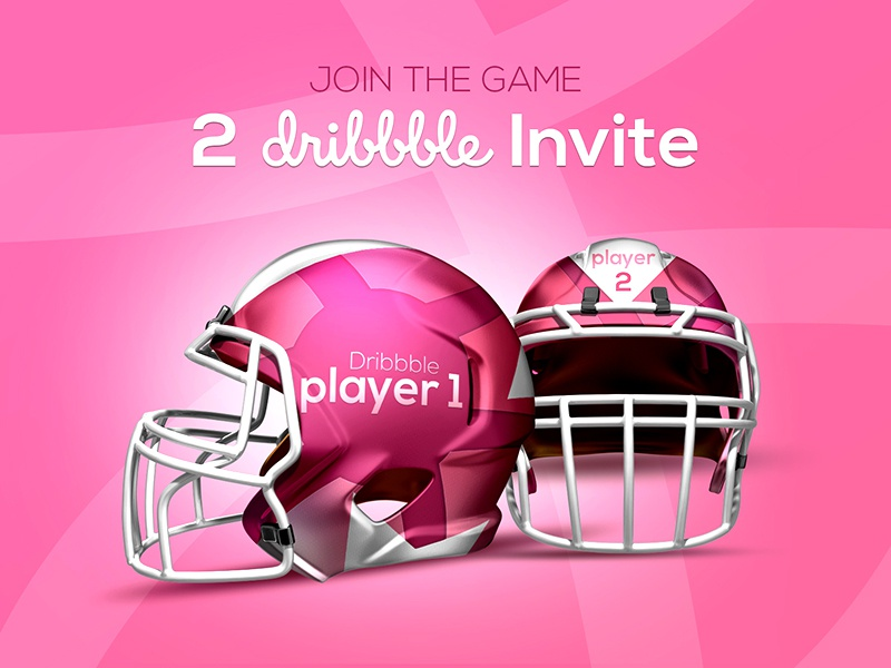 2x Dribbble Invite thanks graphic hello debut players invites helmet design 2 invitation invite dribbble