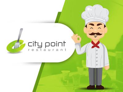 CityPoint Restaurant Logo Design mockup waiter creative graphic branding gradient food spoon fork design logo restaurant