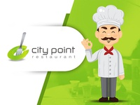 CityPoint Restaurant Logo Design mockup waiter creative graphic branding gradient food spoon fork design logo restaurant