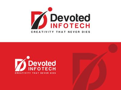 Devoted Infotech Logo Design grey red flat web identity vector 2d inspiration illustration professional icon creative typography logos brand logo branding graphic mockup design