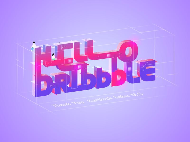 Hello Dribbble gradual change debut hello dribbble art 2.5d logo illustration design