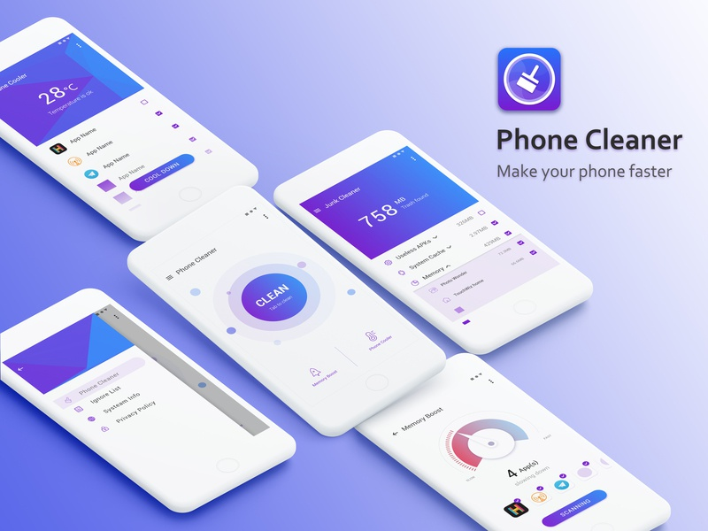 App UI Design - Phone Cleaner ue clean ui clean app app design