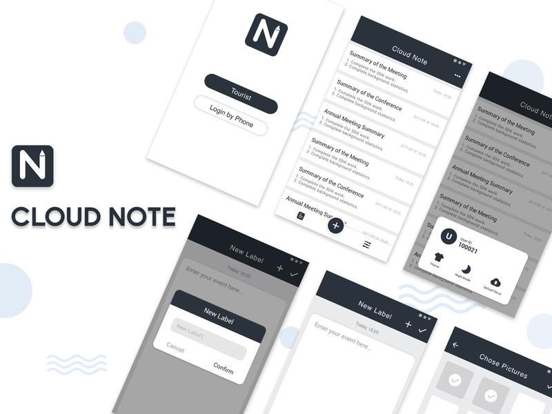 App UI Design - Cloud Note ue ui clean app clean app logo design