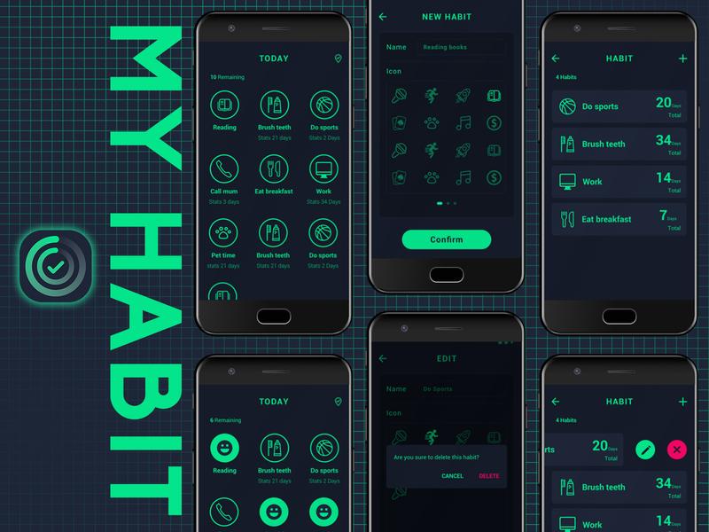 UI Design - MY HABIT cool design cool dark app dark icon ue ui design clean logo app