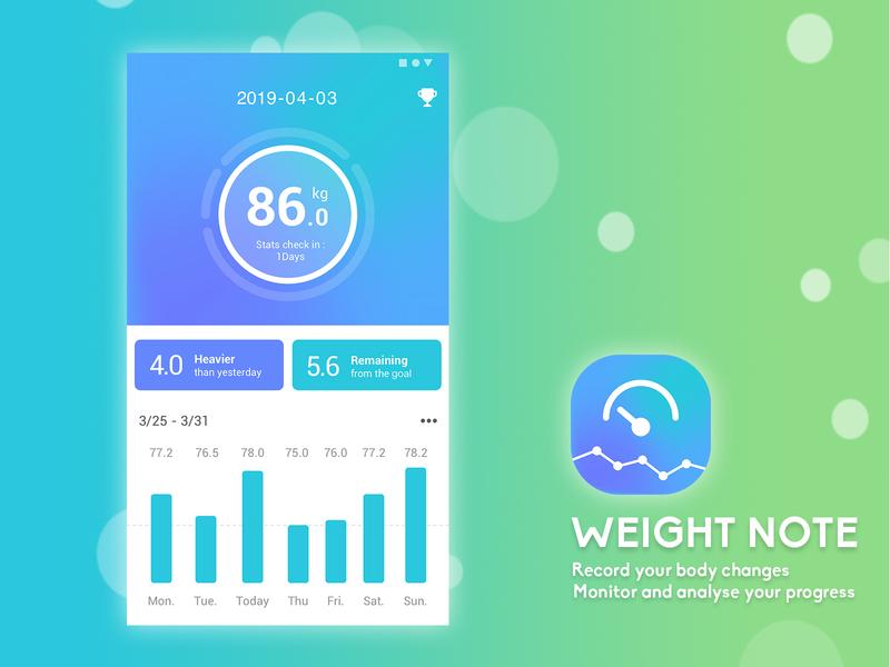 App UI Design-Weight Note ue clean app ui app logo clean design