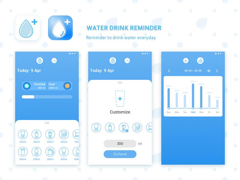 App UI Design - Water Drink Reminder cool design cool blue icon ue clean app ui app clean logo design