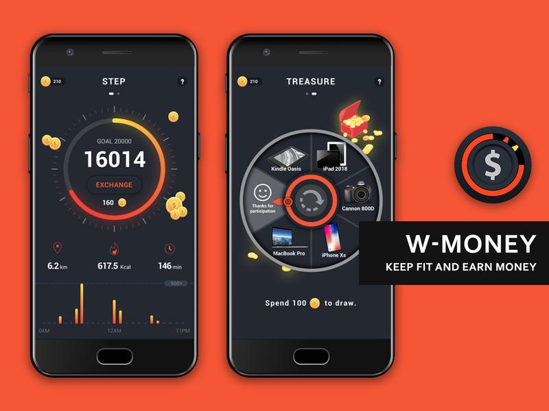 App UI Design - W-MONEY money step walk orange cool design cool ue clean app ui app clean logo design
