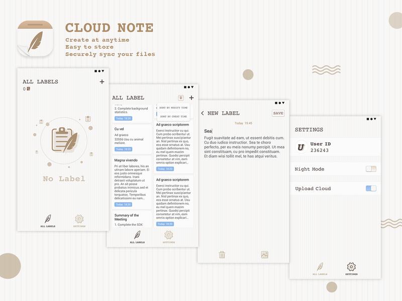 CLOUD NOTE note app cloud note note app logo app design icon illustration clean app ue ui clean app logo design