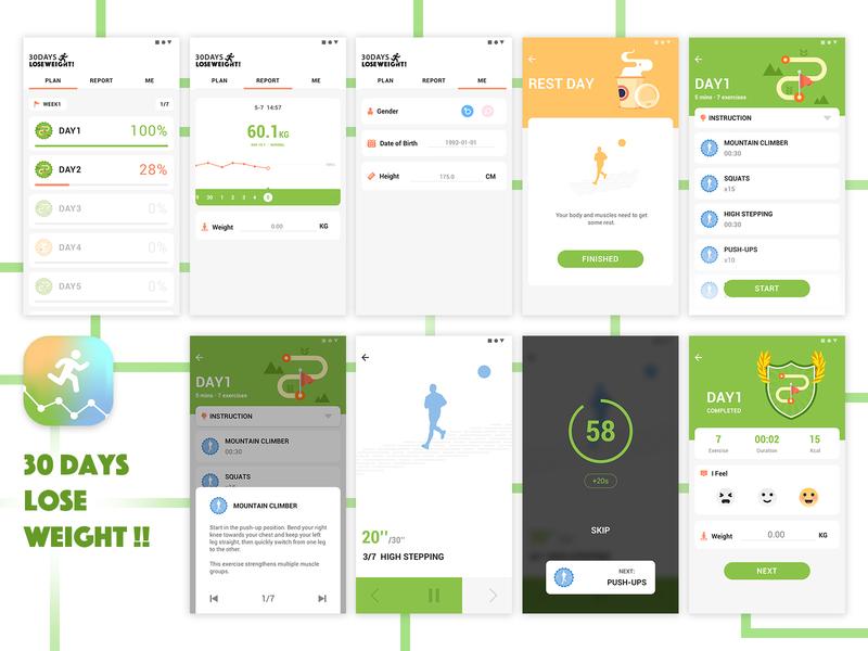 30 DAYS LOSE WEIGHT cool cool design sport app walk run sport app logo app design ai icon illustration clean app ue clean ui app logo design