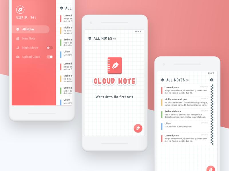 App UI Design - Cloud Note red cloud note note clean app clean logo icon ue ui app design