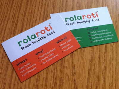 Rola Roti Business Cards design business cards simple clean food orange green