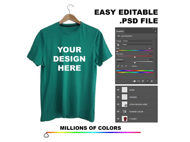 Full Editable Custom Tshirt Mockup Millions Of Color Single Psd