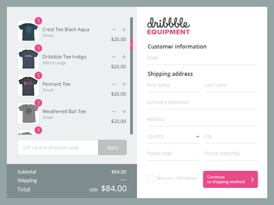 Dribbble Shopify Checkout Page Redesign
