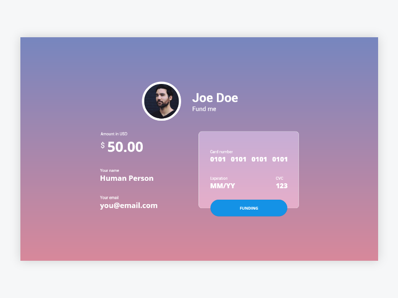 Person Funding Form flat responsive fintech finance pay me fund pay app web ux ui