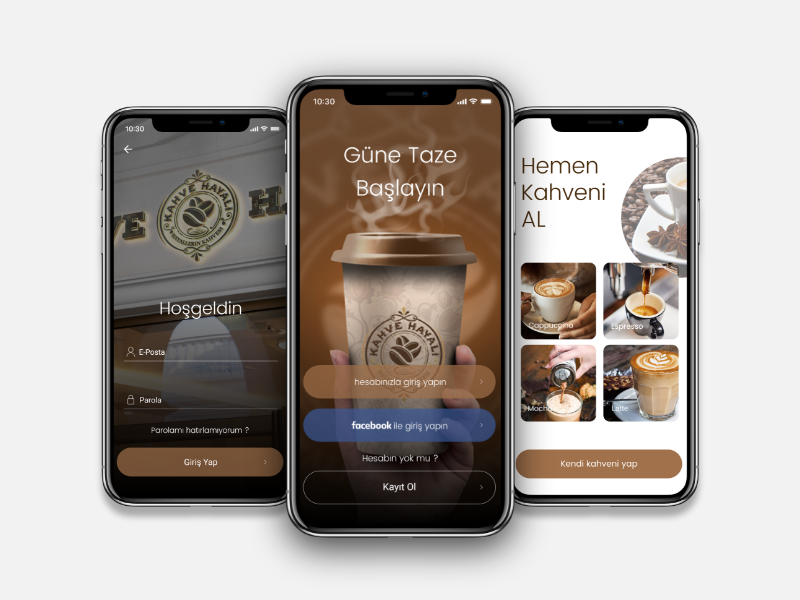 Kahve Hayali Coffee Mobile App order restaurant coffee signup login app ux ui mobile