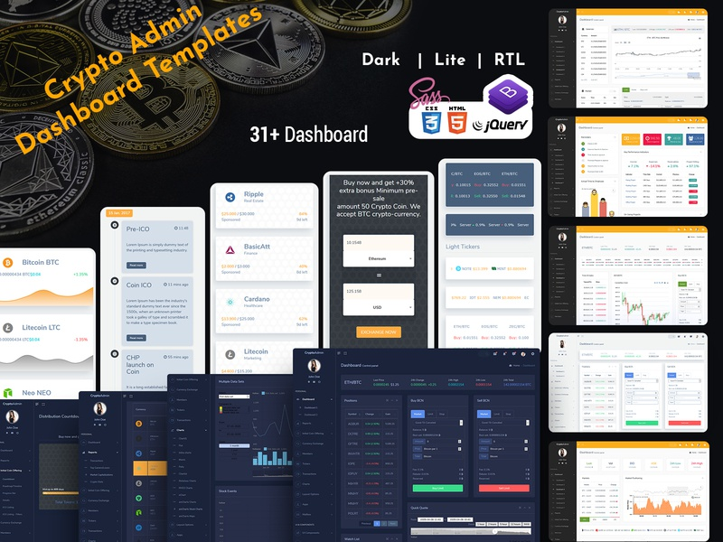 Cryptocurrency HTML Templates + Bitcoin Dashboards + ICO responsive ico admin dashboard template cryptocurrency crypto dashboard crypto cards bootstrap admin theme bootstrap admin template bootstrap 4 bitcoin admin theme admin template admin dashboard admin