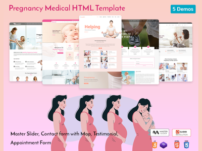Pregnancy Medical HTML Template women center responsive pregnancy template pregnancy care medical maternity hospital template health gynecology gynecologist feminine doctor template doctor child care baby product design illustration web design