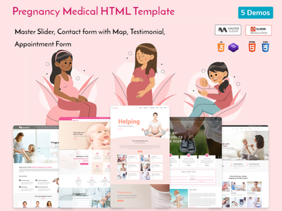 Pregnancy Medical HTML Template illustration web design branding women center responsive pregnancy template pregnancy care medical maternity hospital template health gynecology gynecologist feminine doctor template doctor child care baby