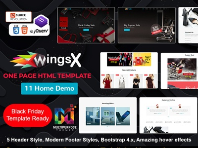 WingsX One Page Parallax HTML Template