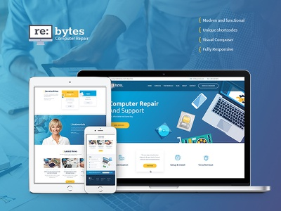 Re:bytes | Computer Repair Service WP Theme web hosting technology corporate computer repair computer business application webdesign web design wordpress theme wordpress