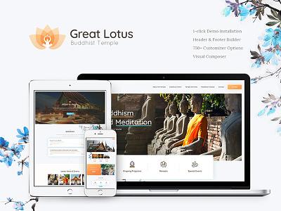 Great Lotus   Buddhist Temple WordPress Theme holistic fundraising events donation buddhist buddhism buddha wordpress wordpress theme temple wordpress theme buddhist temple wordpress theme