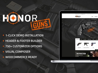 Honor   Shooting Club & Weapon Store Theme shooting range school online store hunting gun classes firearm events e-commerce camping ammunition