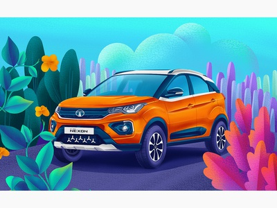 Tata Nexon - Illustration cardrawing nexon tata car digitalpaiting digitalart illustrator design illustraion