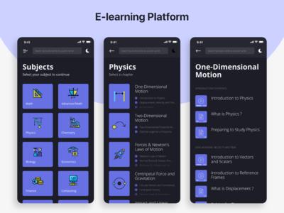 E-learning Platform - Dark Mode