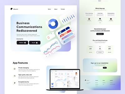 Bizcomm Website dashboard colors cool gradient website web app web uiux ui design ui minimal graphic design flat design