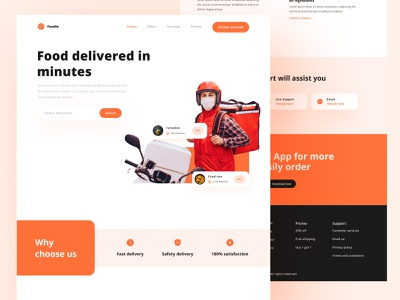 Food Delivery Landing Page home delivery home fast fast food food delivery delivery food graphic design flat uiux ui design minimal ui design