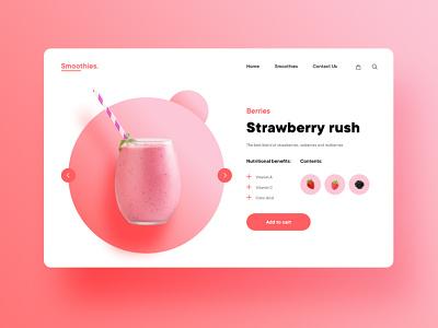 Smoothie pink logo pink hero section landing page design software strawberry juice smoothies smoothie smooth minimal flat graphic design typography ux web uiux ui design ui design