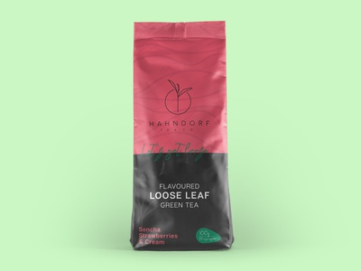 Hahndorf Flavoured Green Tea illustration graphic green tea tea pouch packaging design branding packaging design