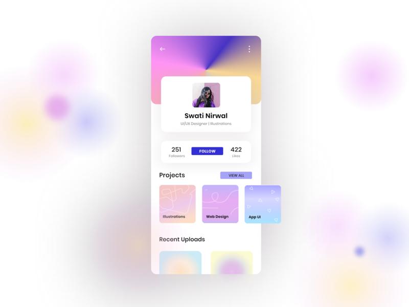 Profile Page ui designer ux designer app ux blur background blur effect app ui design app ui app design 10ddc flatdesign 2d illustration ux ui minimal illustration illustration