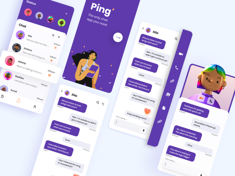 Ping Chat App ping chatbot video call user interface app designer uidesign flatillustration 10ddc 2d illustration 3d minimal illustration illustration app concept app ui chat chat app app design ux ui