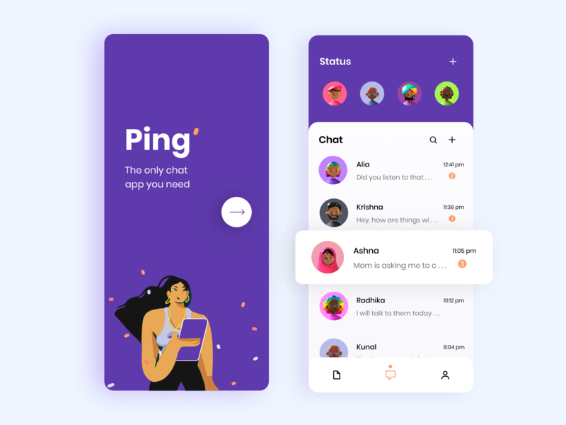 Ping Chat App chat app chat application chatbot uidesign ui designer user interface design uiux app design icon ui web ios guide app designer app design app concept 3d modeling 10ddc 3d illustration 2d illustration flatillustration minimal illustration ux ui illustration