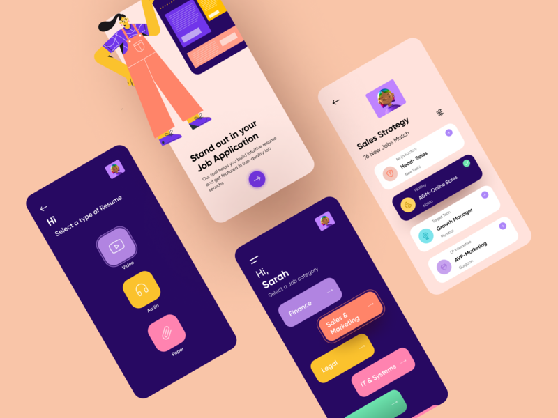 Job Finder and Resume Builder App colorful 2d illustration job application top ux ui designer vector figma mobile app resume builder job app design ui designer ui design uiux minimal illustration ux ui illustration