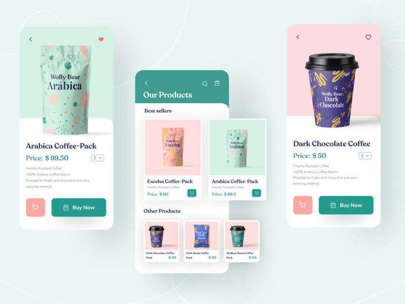Wolly Bear Coffee App vector minimal top ux ui designer webdesign dark chocolate coffee coffee app landing page ux design uidesign branding ui designer app design ux ui illustration