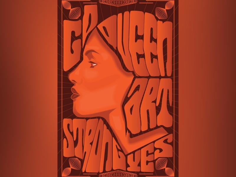 she queen gradient design vectorart card poster design woman portrait poster art type orange profile woman fun abstract illustration