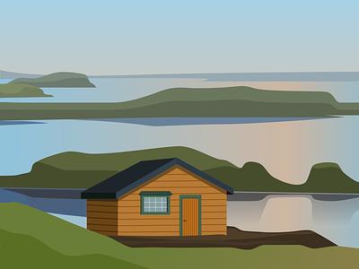 Cabin illustration design nature illustration vector illustration landscape illustration landscape nature cabin illustrator design flat vector illustration