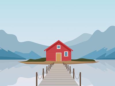 Cabin 2 illustration design blue vector illustration flat design simple simple illustration nature illustration nature cabin illustrator flat illustration vector design illustration flat