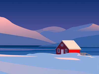 Cabin 3 clean design winter snow simple illustration illustrator illustration design illustration art scandinavia nature vector vector art vector illustrations vector illustration flat illustration landscape illustration norway cabin