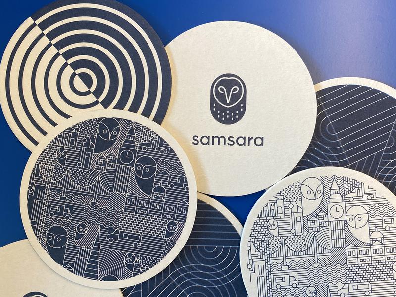 Coasters vector line lineart blue illustration design swag branding brand print coasters samsara
