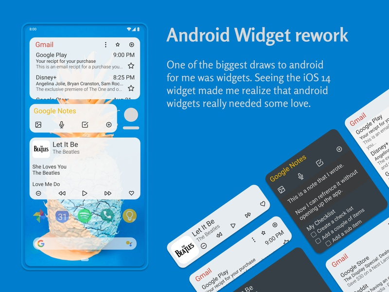 Android OS widgets uidesign uxuidesign android redesign app mobile flat branding figma design ux ui minimal