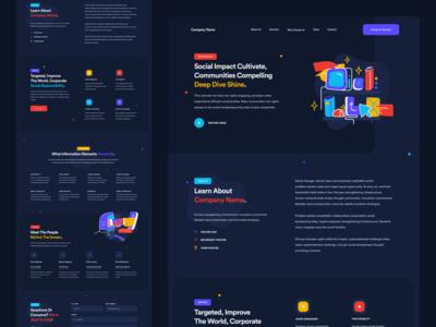 Web Template Design branding web design ux design modern inspiration design dark colorful ui design mockup