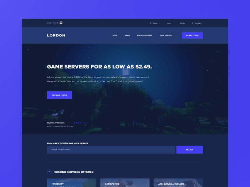 Lordon Hosting Web Design dark ux design branding minecraft hosting modern inspiration colorful web design ui design mockup